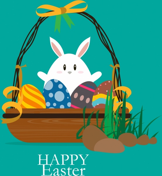 easter background colorful decor bunny egg basket icons