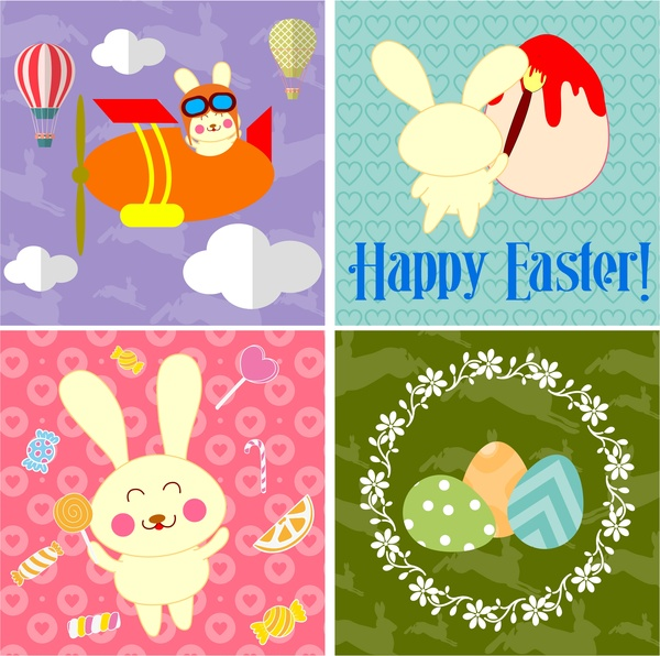 easter background templates design with egg and bunny