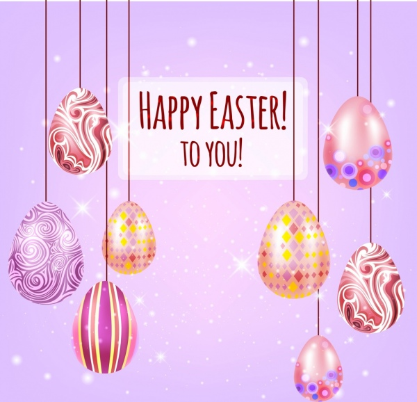 easter banner colorful hanging eggs decoration
