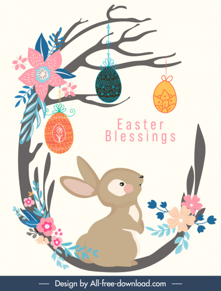 easter banner cute bunny eggs nature elements sketch