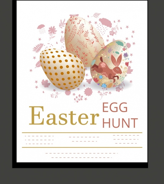 easter banner decorated eggs rabbit flowers icons