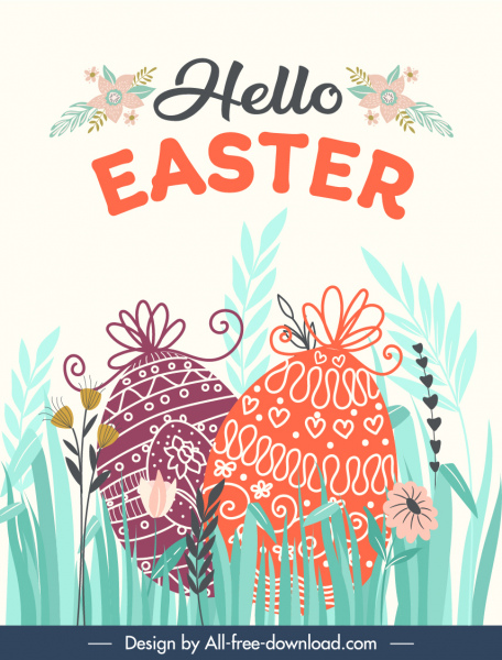 easter banner template colorful flat flora eggs sketch
