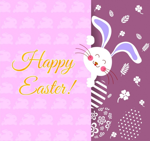 easter card cover cute rabbit flowers eggs decoration