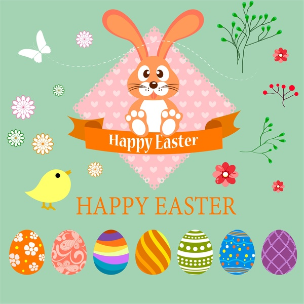 easter card design illustration with bunny and eggs