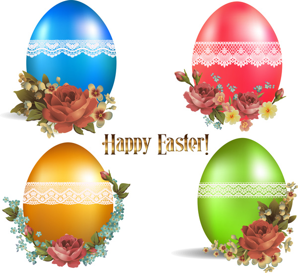 easter card design with colorful easter eggs