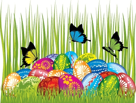 easter background bright colorful eggs butterflies grass decor