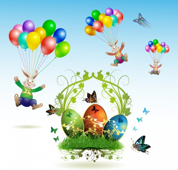 easter design elements modern colorful dynamic bunnies eggs