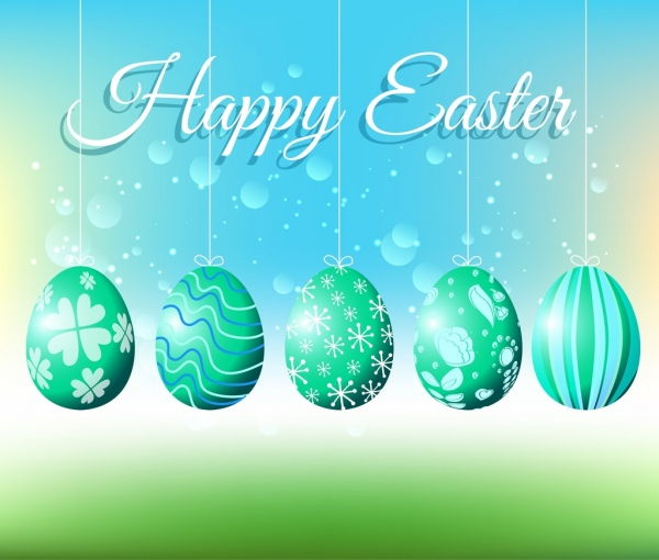 easter cover card template hanging shiny decorative eggs