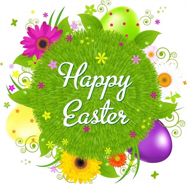easter banner shiny colorful modern fllowers eggs decor