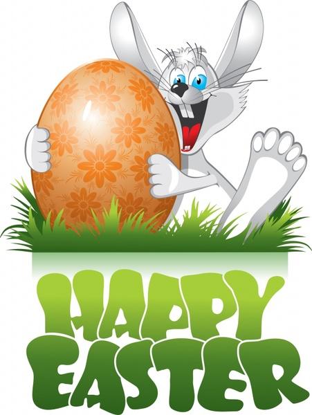 easter banner funny rabbit egg decor cartoon design