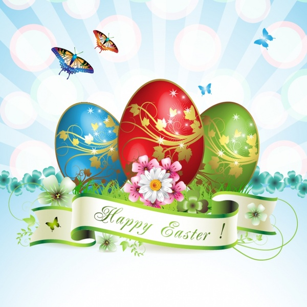 easter banner template bright dynamic colorful eggs floral
