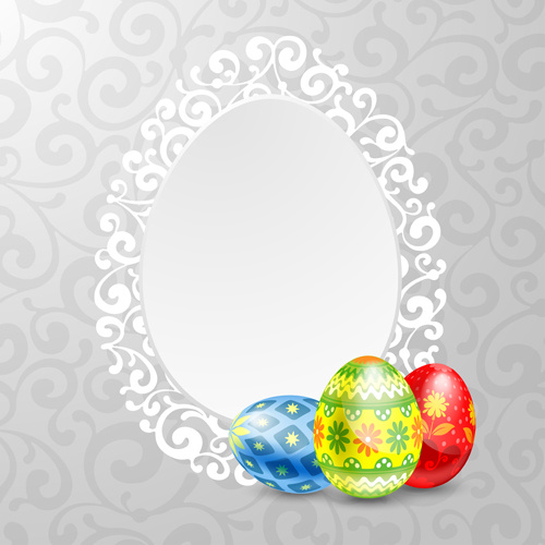 easter egg and lace frame vector