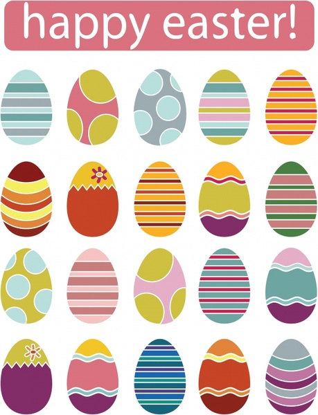 easter banner colorful decorated eggs flat design