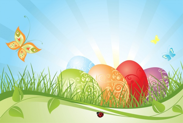 easter background modern colorful eggs grass butterflies decor
