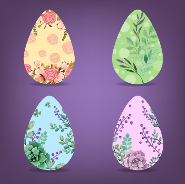 easter eggs icons colorful flowers decoration flat design