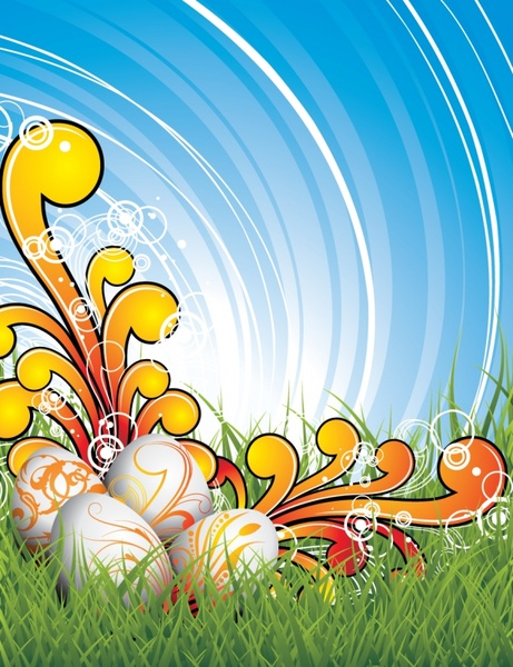 easter background bright colorful modern eggs grass decor