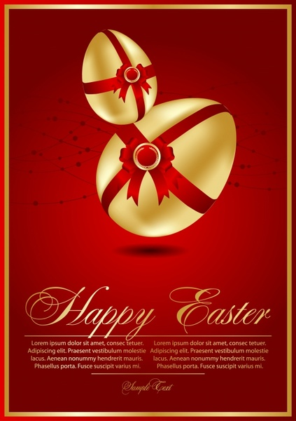 easter banner modern design red yellow eggs decor