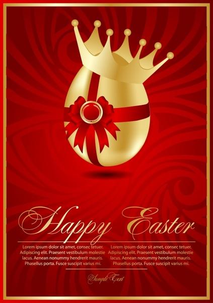 easter banner egg crown decor luxury red golden