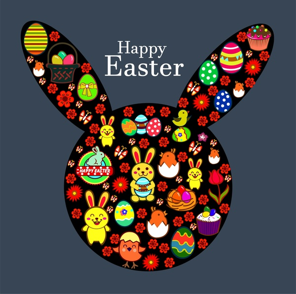 easter template design with rabbit head and symbols