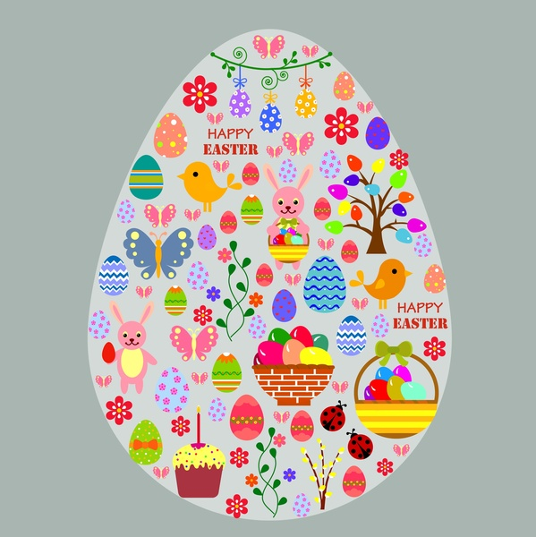 easter template illustration with symbols in big egg free vector in