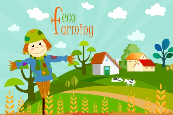 eco farming background field scene dummy icons