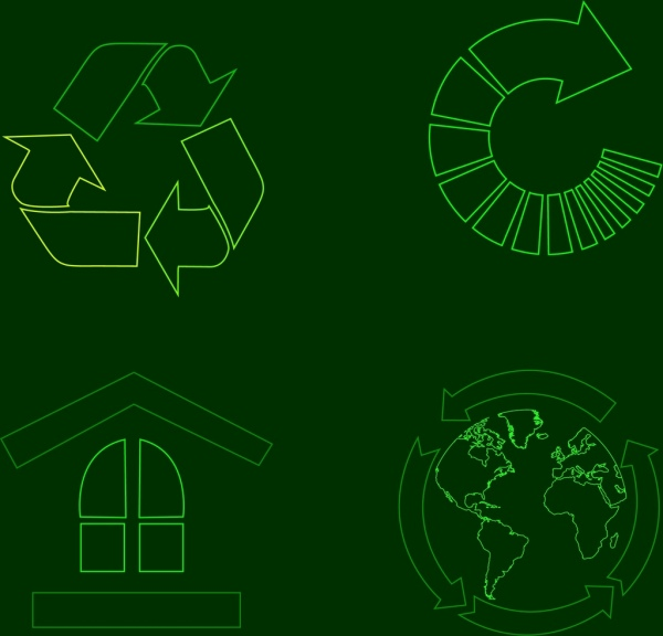 eco icons outline green arrows earth house isolation