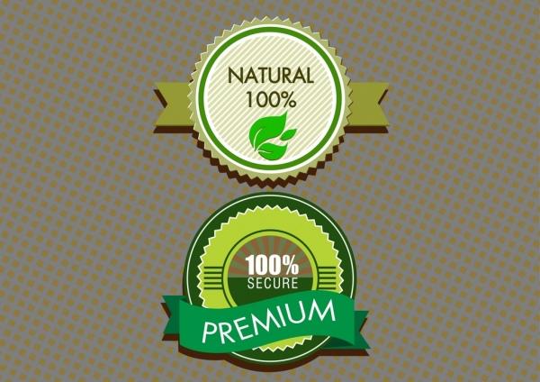 eco label sets green circle design and ribbon