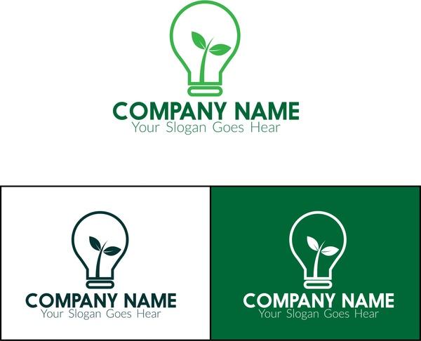 eco logo sets leaf and light bulb design