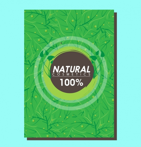 eco products flyer green leaves background and circle