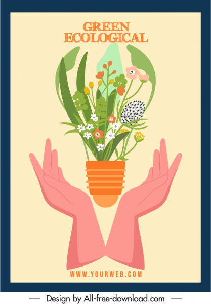 ecological banner template colorful classic flowerpot hands sketch