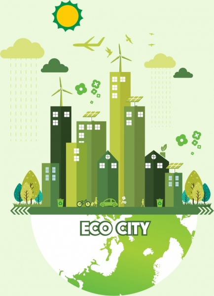 ecology banner green city earth icons decor