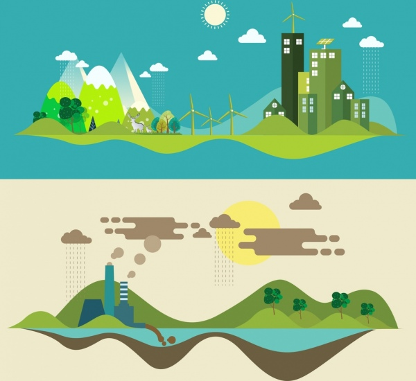 ecology banner green power pollution icons