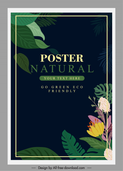 ecology banner template dark colorful classic nature elements