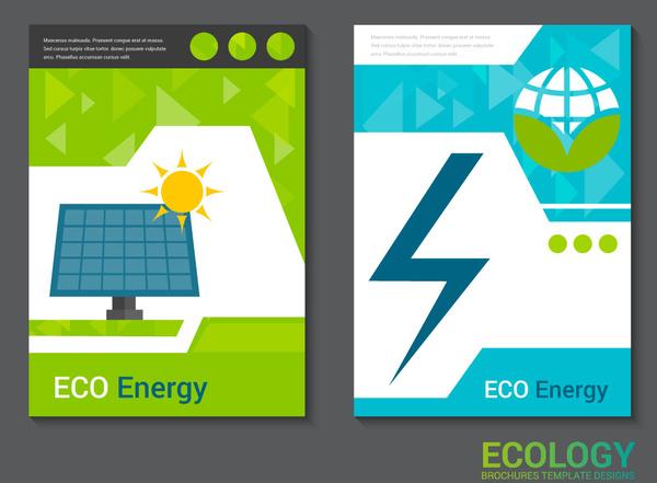 ecology brochure design with energy symbol illustration