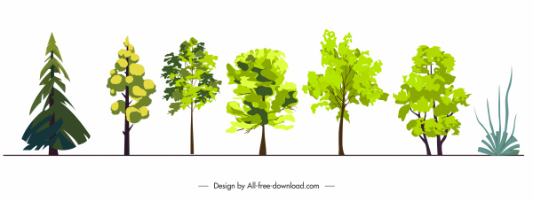 ecology design elements trees sketch colored flat sketch