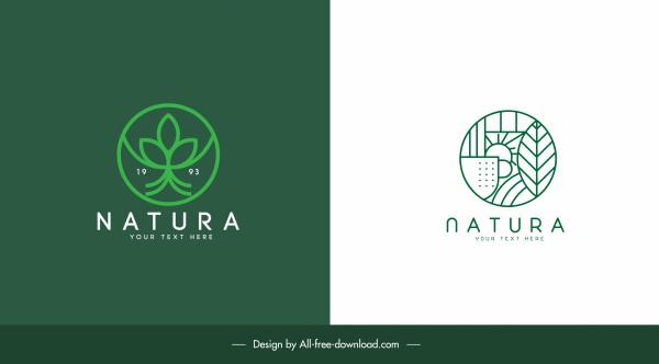 ecology logo templates flat design green nature elements