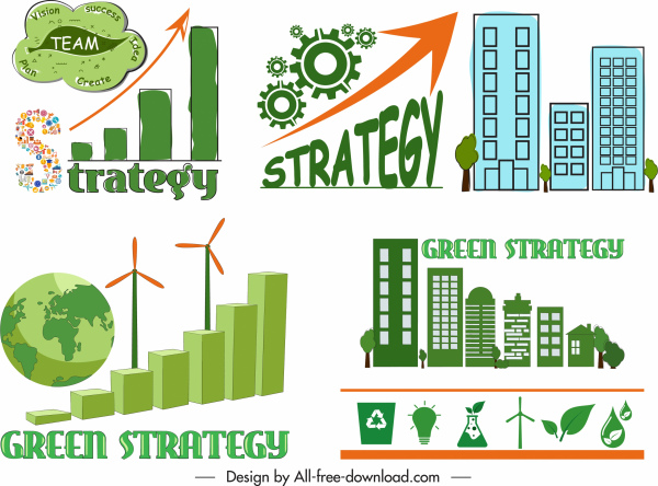 ecology strategy design elements globe building gear sketch