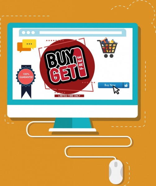 ecommerce banner computer mouse icons decor