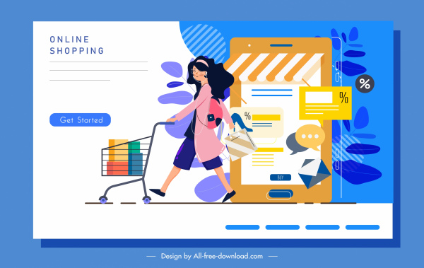 ecommerce poster shopping woman sketch cartoon character