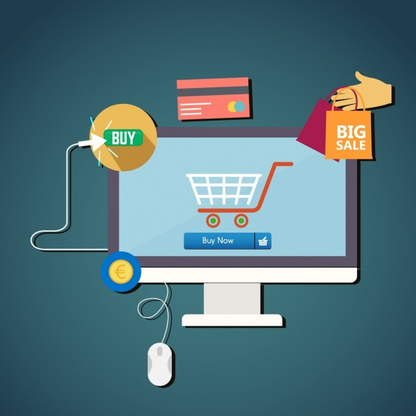 ecommerce promotion banner computer cart icons flat design