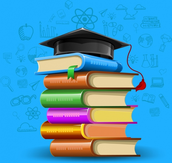 education achievement background colorful books stack hat icons