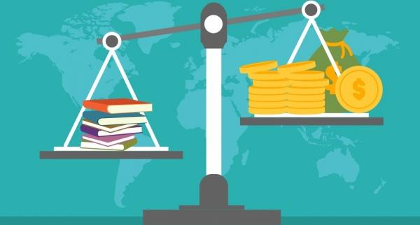 education achievement concept balance books money icons decor