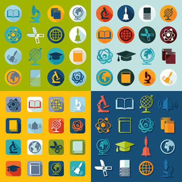 education and teaching flat icons vector