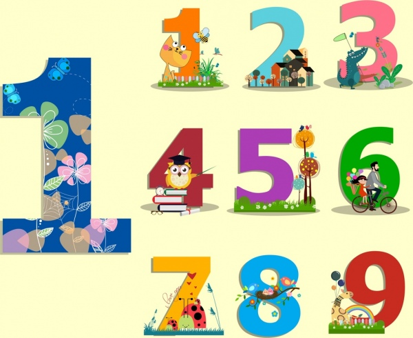 education background colorful number cartoon icons decor