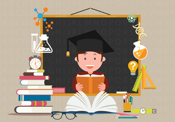 education background design with educational elements