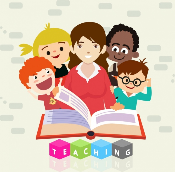 education background female teacher pupils open book icons