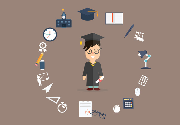 education background illustration with bachelor and learning tools