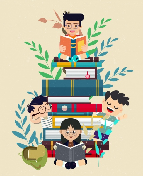 education background learning children books stack icons