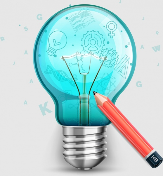 education background lightbulb pencil icons shiny colored decoration