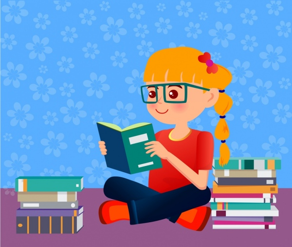Education background little girl reading book ornament ...